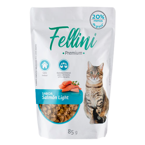 Alimento Humedo Fellini Para Gatos Salmón Light Fellini